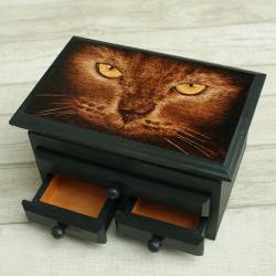kot,pirografia,wypalanie - Pudełka - Wyposażenie wnętrz