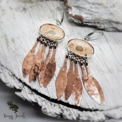 indiański styl,kolczyki z jaspisem,wielobarwne - Kolczyki - Biżuteria
