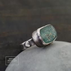 srebro,surowy,szkło afgańskie,oksydowany - Pierścionki - Biżuteria