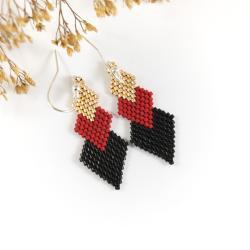 kolczyki romby,kolczyki geometryczne,na prezent - Kolczyki - Biżuteria