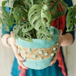 ceramika,osłonka,doniczka,miętowa doniczka - Ceramika i szkło - Wyposażenie wnętrz