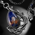 Naszyjniki srebrny,naszyjnik,wire-wrapping,sodalit,niebieski