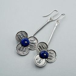 srebrne kolczyki z lapis lazuli - Kolczyki - Biżuteria