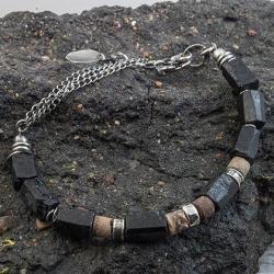 bransoleta srebrna,bransoleta z turmalinem, - Bransoletki - Biżuteria