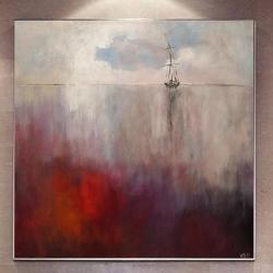 morze,obraz,akryl,bordo,szary,biel - Obrazy - Wyposażenie wnętrz
