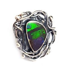 rzadki okazały ammolit,srebrny pierścionek,cudo - Pierścionki - Biżuteria