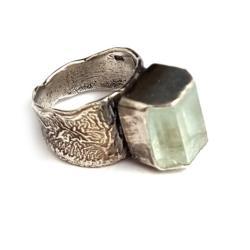 akwamaryn,blask,srebrny,srebro,unikat,retro - Pierścionki - Biżuteria