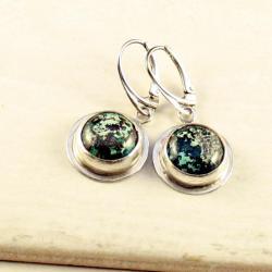 srebrne kolczyki z chryzokolą - Kolczyki - Biżuteria