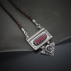 srebrny,naszyjnik,z turmalinem,z kwiatem - Naszyjniki - Biżuteria