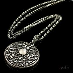 kamień księżycowy,moonstone,wire wrapping - Wisiory - Biżuteria
