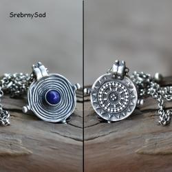mandala srebrna,srebro lapis lazuli - Naszyjniki - Biżuteria
