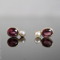 delikatne,granat,perła,złocone,młotkowane,eleganck - Kolczyki - Biżuteria