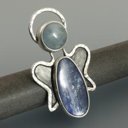 srebrny broszko-wisior z kyanitem i akwamarynem - Wisiory - Biżuteria