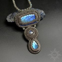 labradoryt,niebieski,srebrny,ekskluzywny,elegancki - Naszyjniki - Biżuteria