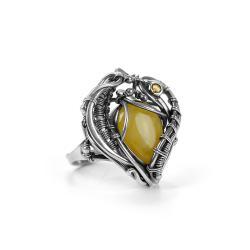 burstyn bałtycki,pierscionek z bursztynem - Pierścionki - Biżuteria