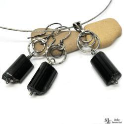 biżuteria,turmalin,czarny,szerl,bryłki,surowe - Komplety - Biżuteria