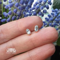 akwamaryn,sztyfty,kolczyki,srebrne - Kolczyki - Biżuteria