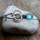 Naszyjniki błekitny,długi,kwars swiss blue,oksydowane srebro