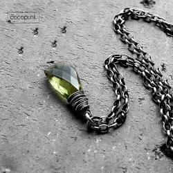 delikatny,zielony,z kamieniem,codzienny,srebro - Naszyjniki - Biżuteria