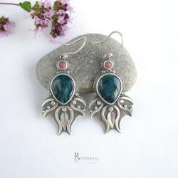 morska barwa,apatyt,kolczyki srebrne - Kolczyki - Biżuteria