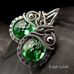 kolczyki,srebre,srebra,wire wrapping,zielone - Kolczyki - Biżuteria