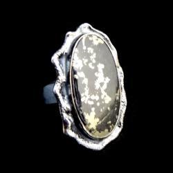 piryt,złoty,blask,srebro,szarości,minerał,okaz - Pierścionki - Biżuteria