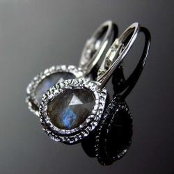 srebro,labradoryt,kolczyki,unikat - Kolczyki - Biżuteria