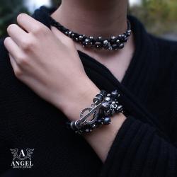 bransoleta i naszyjnik ze skóry i pereł - Naszyjniki - Biżuteria