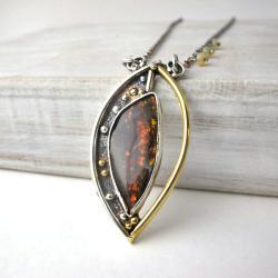 Ammolit,naszyjnik pozłacany,srebro oksydowane - Naszyjniki - Biżuteria