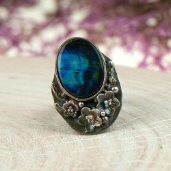 pierścionek z silimanitem,regulowany,kwiaty - Pierścionki - Biżuteria