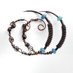 fantazyjne,z akwamarynem,kolczyki koła,z miedzi - Kolczyki - Biżuteria