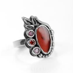 srebrny pierscionek,bordowy kamień,regulowany - Pierścionki - Biżuteria
