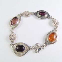 Bransoletka srebrna z turmalinami - Bransoletki - Biżuteria