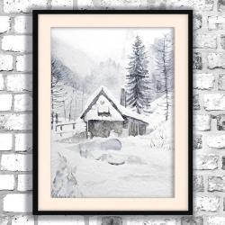 akwarela,góry,krajobraz,chatka,zima - Obrazy - Wyposażenie wnętrz