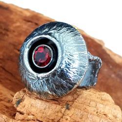 granat,srebrny,szary,bordowy,surowy,winny,blask, - Pierścionki - Biżuteria