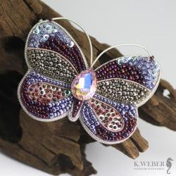 Broszka,motyl,kolorowy,liliowy - Broszki - Biżuteria