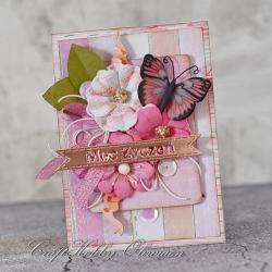 kwiaty,motyl,urodziny,imieniny - Kartki okolicznościowe - Akcesoria