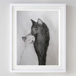 kotki,akwarela - Obrazy - Wyposażenie wnętrz