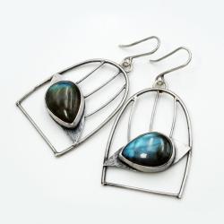 srebrne kolczyki klatki z ptakami - Kolczyki - Biżuteria