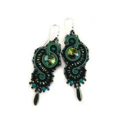 Czarno-zielone kolczyki z sutaszu - Kolczyki - Biżuteria