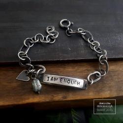 srebro,iamenough,łańcuch - Bransoletki - Biżuteria
