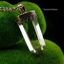 nehesi,wisior z kryształem górskim,srebro,unikat - Naszyjniki - Biżuteria
