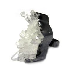 kryształ górski,srebrny,blask,szarości,okaz,szlif, - Pierścionki - Biżuteria
