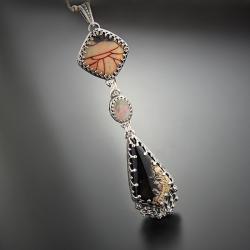 srebrny,naszyjnik,z opalem,długi - Naszyjniki - Biżuteria