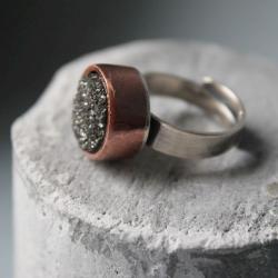 pierścionek srebro miedź agat druza - Pierścionki - Biżuteria