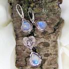 Komplety komplet biżuterii srebrnej z kamieniami księżycowy