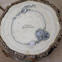bransoletka,serce,stal chirurgiczna,kwarc różowy - Bransoletki - Biżuteria