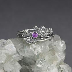 fioletowy,kwiaty,pierścionek gałązki,ogród - Pierścionki - Biżuteria