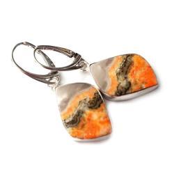 jaspisy,srebrne,blask,orange,mineralne,długie,styl - Kolczyki - Biżuteria
