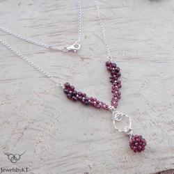 srebrno,nowoczesny,geometryczny,granaty,JewelsbyKT - Naszyjniki - Biżuteria